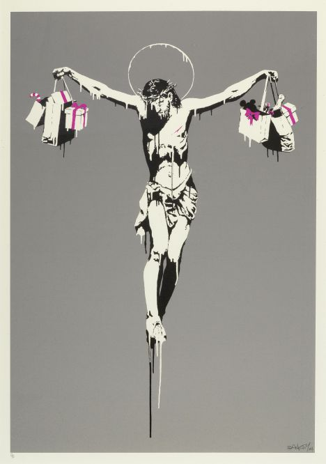 Lot-079-Banksy-British-born-1975-Christ-With-Shopping-Bags-2004